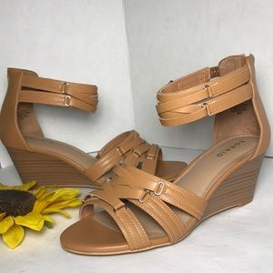 TORRID Tan Strappy Double Mine Wedge Sandals